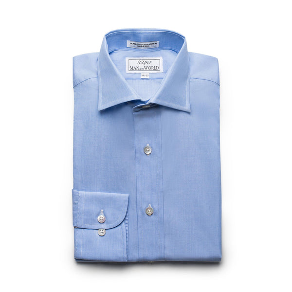 French Blue End-on-end Spread Collar Shirt