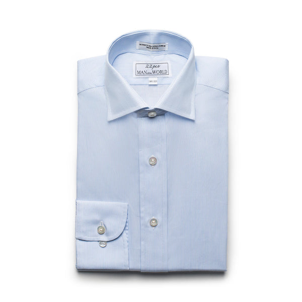 White & Blue Striped Broadcloth Spread Collar Shirt