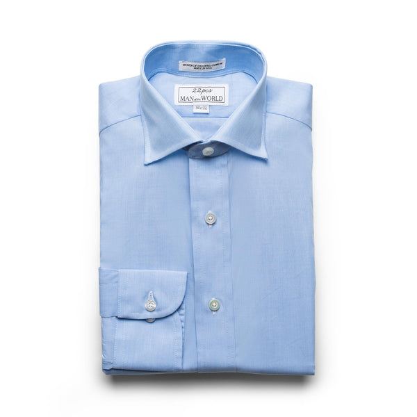 Light Blue End-on-end Spread Collar Shirt