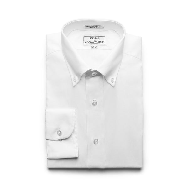 White Pinpoint Button-down Collar Shirt