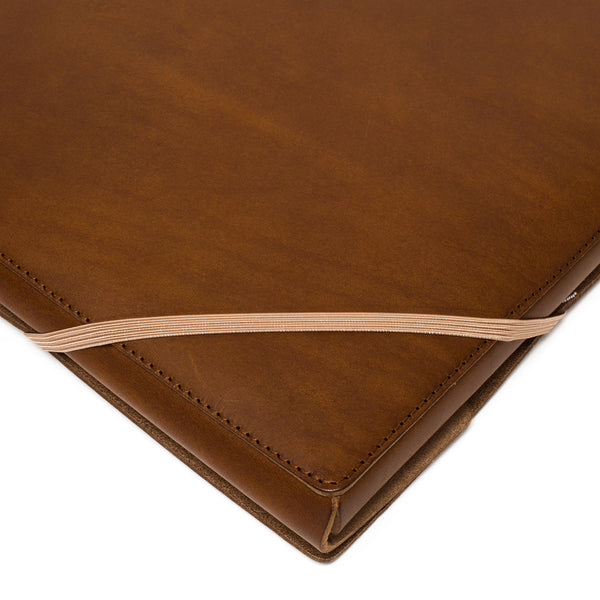 Leather A4 Covered Folder - Chestnut