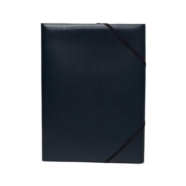 Leather A4 Covered Folder - Navy
