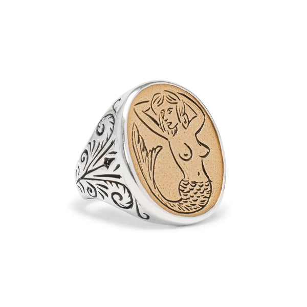 Mermaid Signet Ring - Silver & Brass