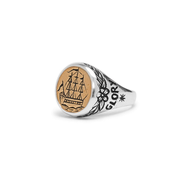 Albion Signet Ring - Silver & Brass