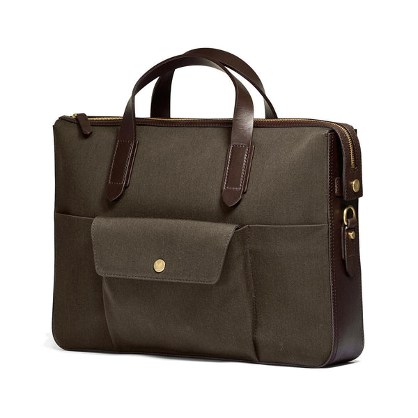 Briefcase - Pine Green Wool & Dark Brown Leather