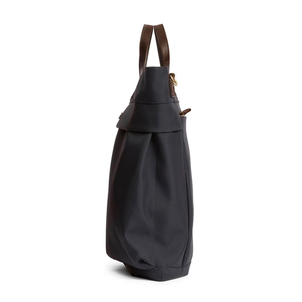 Helmet Bag - Navy Nylon & Dark Brown Leather