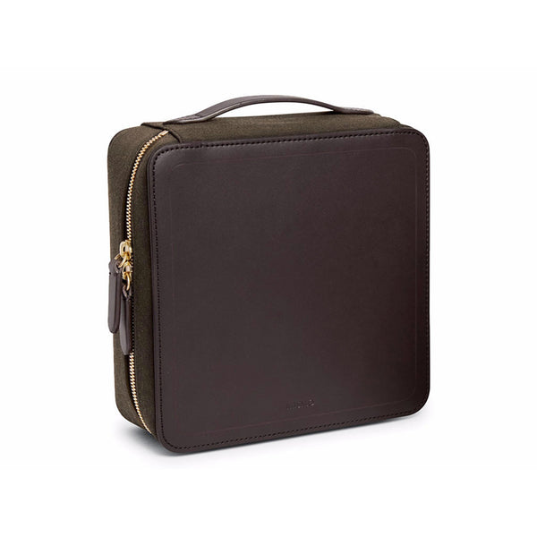 Capsule Travel Case - Pine Green Wool & Dark Brown Leather