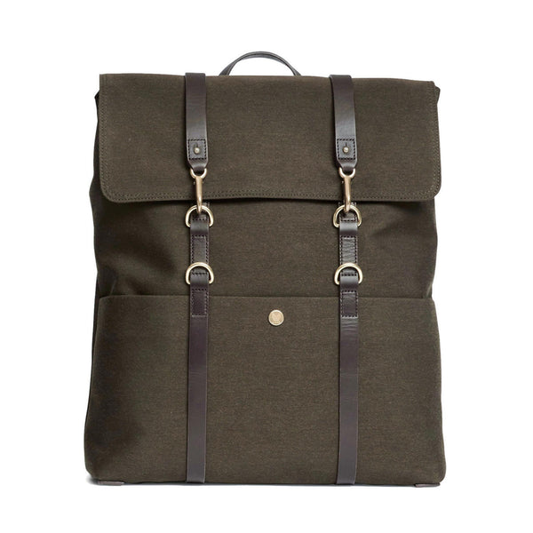 Backpack - Pine Green Wool & Dark Brown Leather