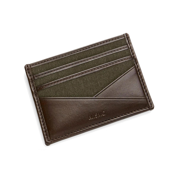 Cardholder - Pine Green Wool & Dark Brown Leather