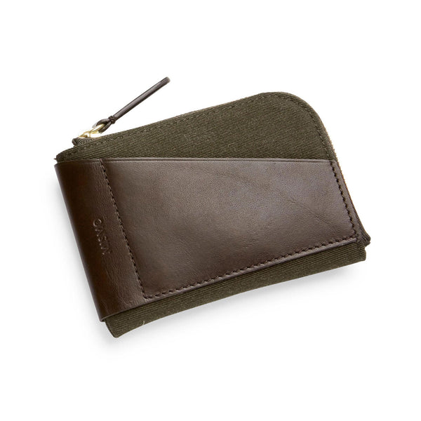 Cards & Coins - Pine Green Wool & Dark Brown Leather
