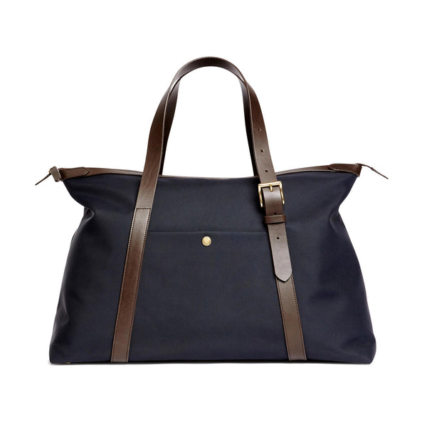 Holdall - Navy Nylon & Dark Brown Leather