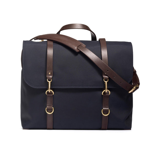 Satchel - Navy Nylon and Dark Brown Leather