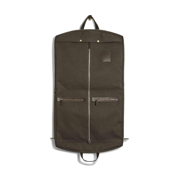 Suit Carrier - Pine Green Wool & Dark Brown Leather