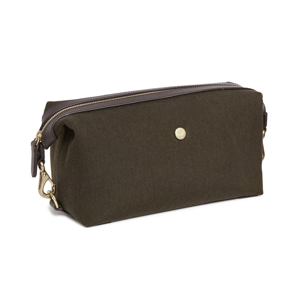 Travel Washbag - Pine Green Wool & Dark Brown Leather