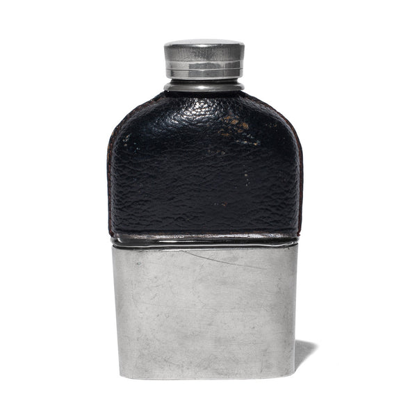 VINTAGE - Small Black Leather Wrapped Flask - MAN of the WORLD Online Destination for Men's Lifestyle - 1