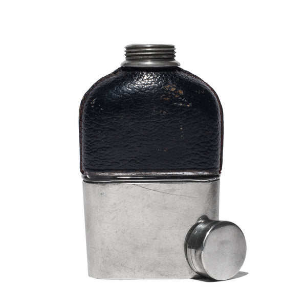 VINTAGE - Small Black Leather Wrapped Flask - MAN of the WORLD Online Destination for Men's Lifestyle - 2