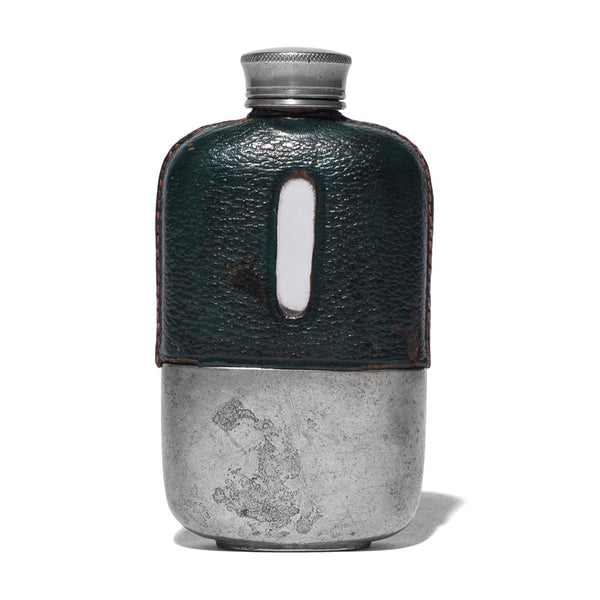 Small Green Leather Wrapped Flask