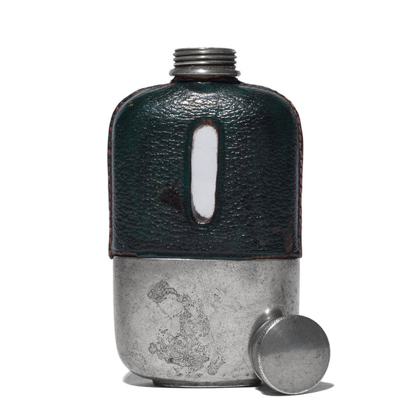 VINTAGE - Small Green Leather Wrapped Flask - MAN of the WORLD Online Destination for Men's Lifestyle - 2