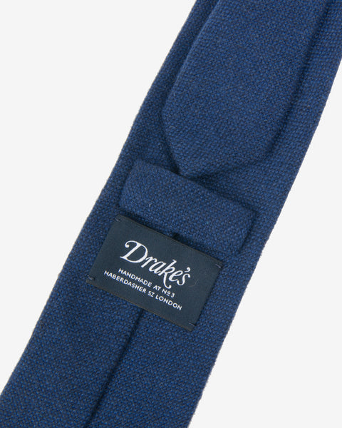 Hand Rolled Wool Tie - Blue