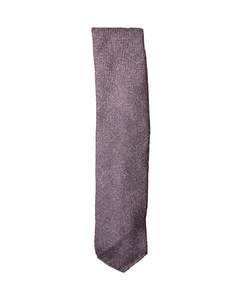 Wool Silk Linen Blend Woven Tie - Brown