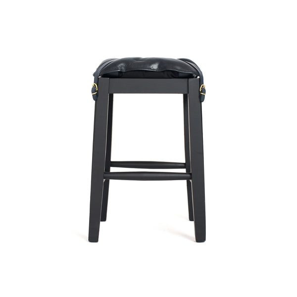 Wooden Stool with Cowhide Seat - Navy