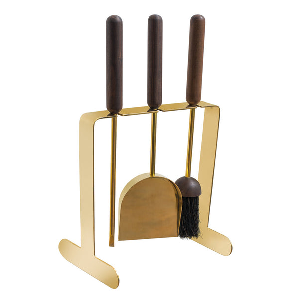 Aubock - Brass and Black Walnut Fireplace Set - MAN of the WORLD Online Destination for Men's Lifestyle - 1