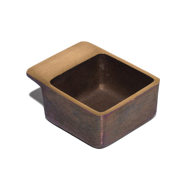 Patinated Brass Square Ashtray / Catchall - 7 cm