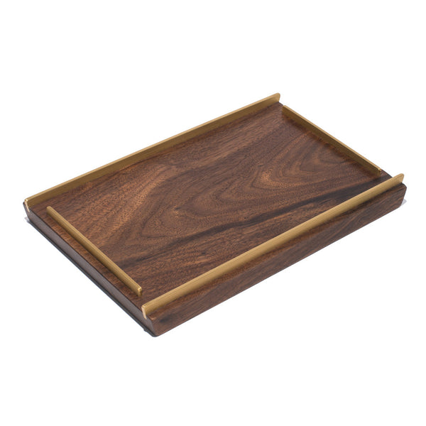 MAN OF THE WORLD - Black Walnut Tray with Brass Inlay - Small - MAN of the WORLD Online Destination for Men's Lifestyle - 2