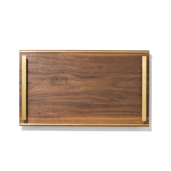 MAN OF THE WORLD - Black Walnut Tray with Brass Handles - MAN of the WORLD Online Destination for Men's Lifestyle - 1