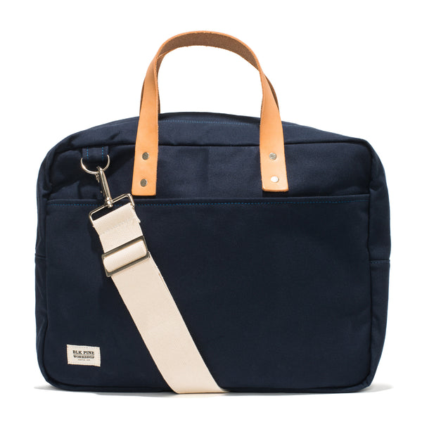 Leather & Canvas Briefcase - Navy
