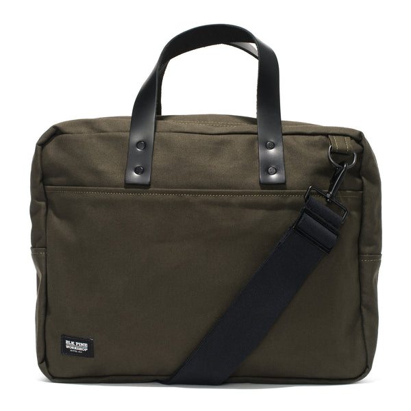 BLK PINE WORKSHOP - Leather & Canvas Briefcase - Olive - MAN of the WORLD Online Destination for Men's Lifestyle - 1