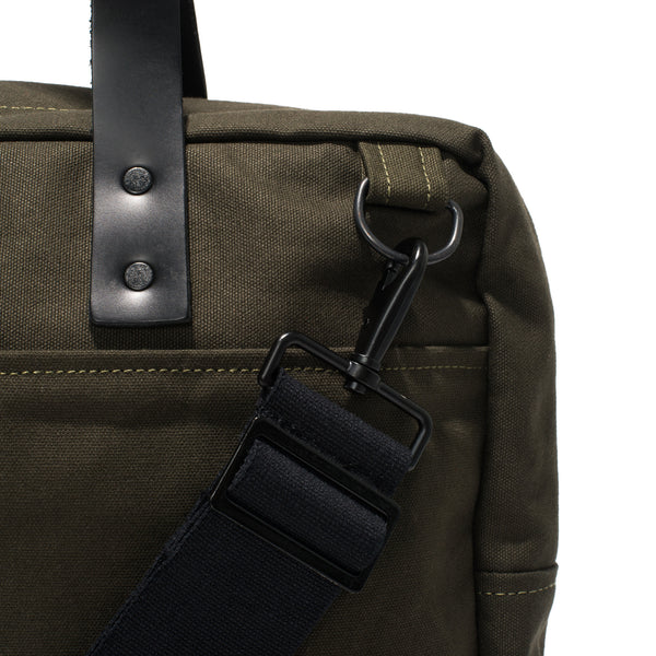 BLK PINE WORKSHOP - Leather & Canvas Briefcase - Olive - MAN of the WORLD Online Destination for Men's Lifestyle - 6