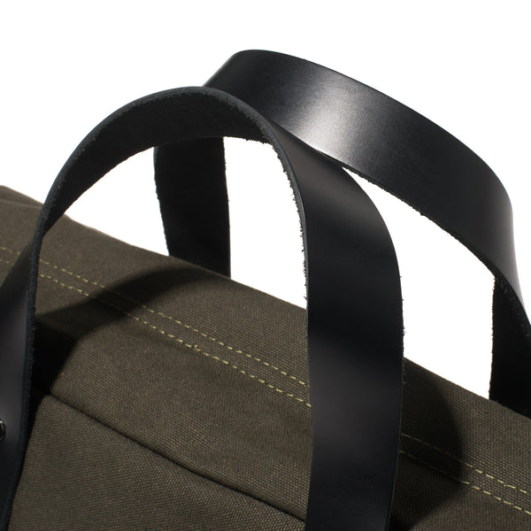 BLK PINE WORKSHOP - Leather & Canvas Briefcase - Olive - MAN of the WORLD Online Destination for Men's Lifestyle - 5