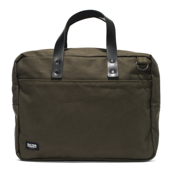 BLK PINE WORKSHOP - Leather & Canvas Briefcase - Olive - MAN of the WORLD Online Destination for Men's Lifestyle - 2