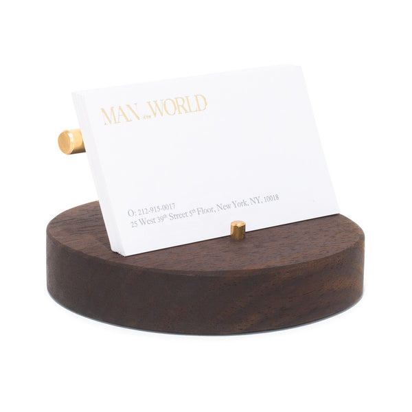 MAN OF THE WORLD - Circular Black Walnut Business Card Holder - MAN of the WORLD Online Destination for Men's Lifestyle - 2