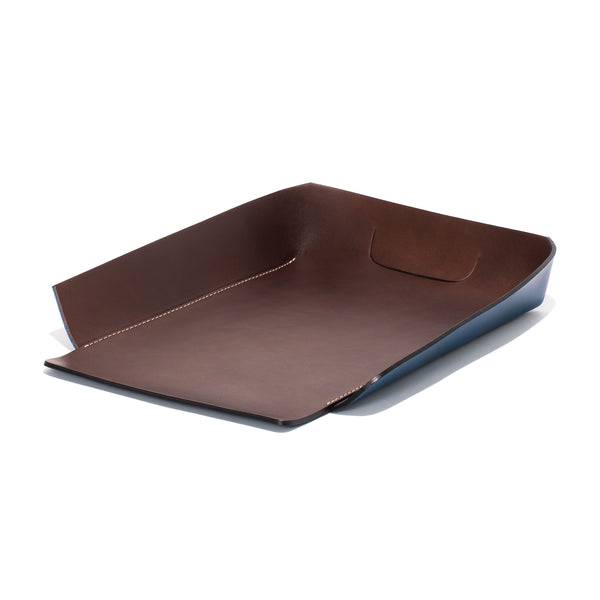 Leather In & Out Tray - Blue