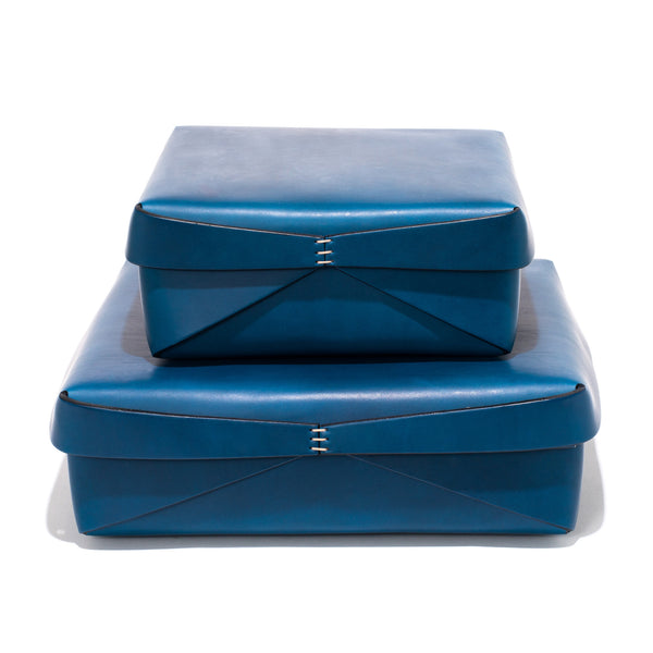 Leather Square Boxes - Blue