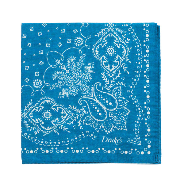 Bandana Print Cotton Pocket Square - Blue & Cream