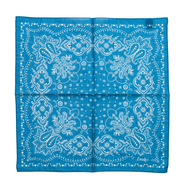 Drake's - Bandana Print Cotton Pocket Square - Blue & Cream - MAN of the WORLD Online Destination for Men's Lifestyle - 3