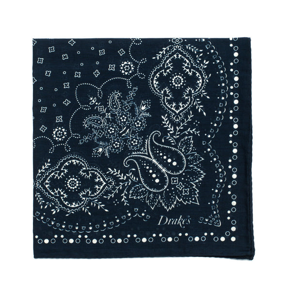 Bandana Print Cotton Pocket Square - Navy & Cream