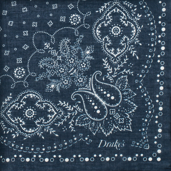 Drake's - Bandana Print Cotton Pocket Square - Navy & Cream - MAN of the WORLD Online Destination for Men's Lifestyle - 2