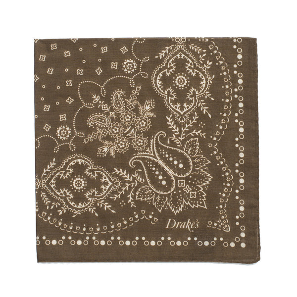 Bandana Print Cotton Pocket Square - Olive & Cream