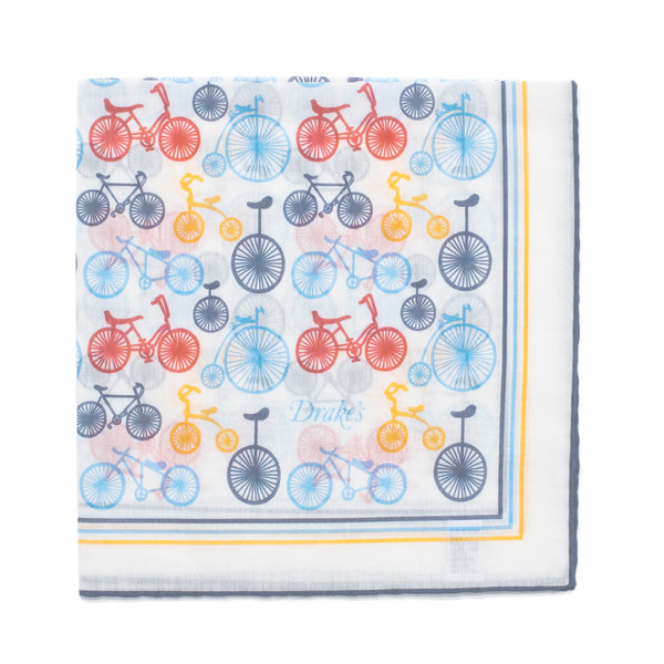 Drake's - Bicicyle Print Silk Blend Pocket Square - MAN of the WORLD Online Destination for Men's Lifestyle - 1