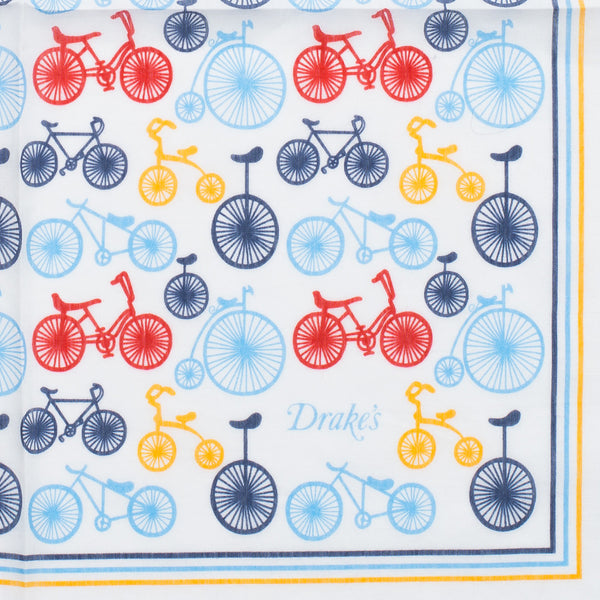 Drake's - Bicicyle Print Silk Blend Pocket Square - MAN of the WORLD Online Destination for Men's Lifestyle - 2