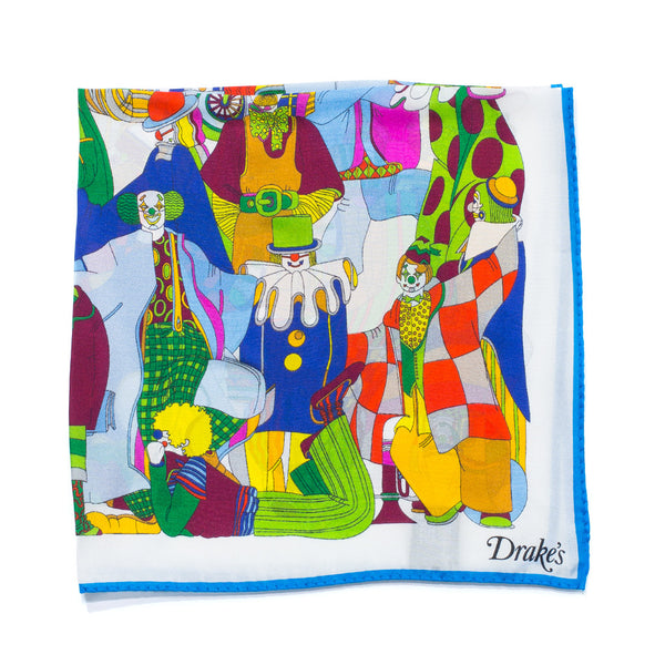 Drake's - Clown Print Silk Pocket Square - MAN of the WORLD Online Destination for Men's Lifestyle - 1