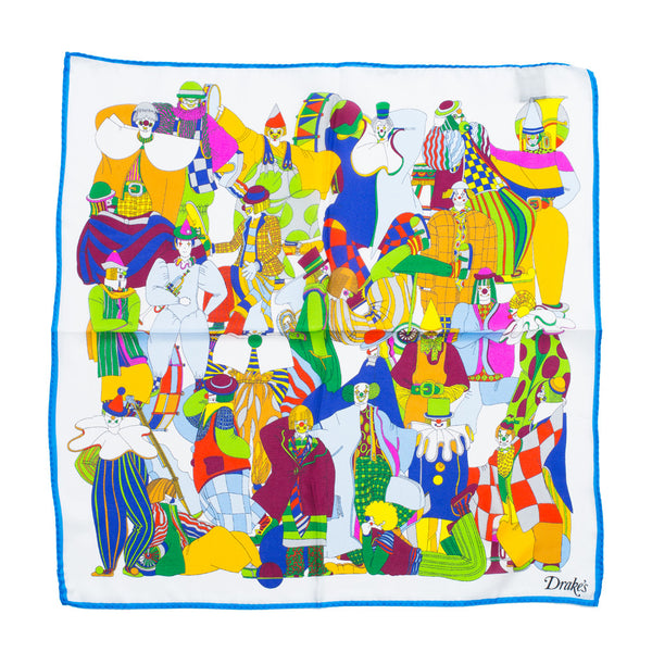 Drake's - Clown Print Silk Pocket Square - MAN of the WORLD Online Destination for Men's Lifestyle - 3
