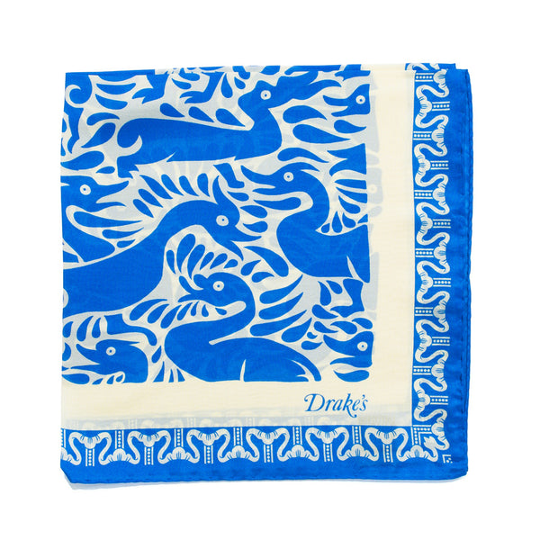 Drake's - Duck Print Silk Pocket Square - Blue & Cream - MAN of the WORLD Online Destination for Men's Lifestyle - 1