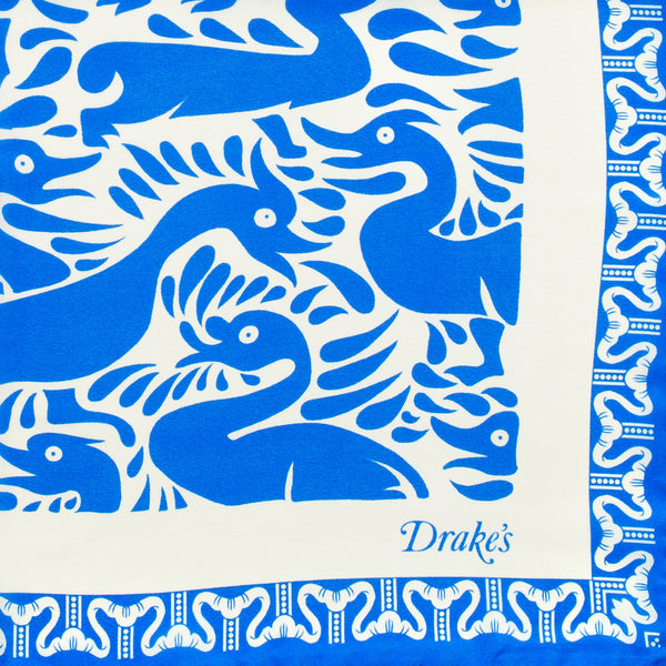 Drake's - Duck Print Silk Pocket Square - Blue & Cream - MAN of the WORLD Online Destination for Men's Lifestyle - 2