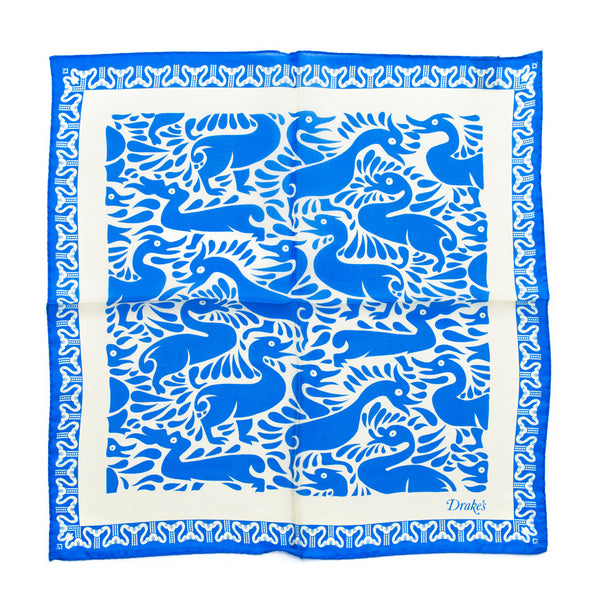 Drake's - Duck Print Silk Pocket Square - Blue & Cream - MAN of the WORLD Online Destination for Men's Lifestyle - 3