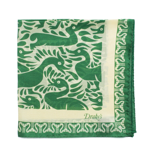 Duck Print Silk Pocket Square - Green & Cream